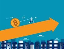 Robottrekkracht Bitcoin De financiën vectorillustraion van de conceptentechnologie royalty-vrije illustratie