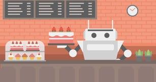 Robotuppassaren som arbetar på bakelse, shoppar Arkivbild