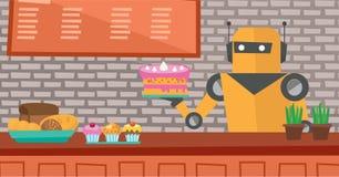 Robotuppassaren som arbetar på bakelse, shoppar Arkivfoton