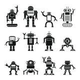 Robotuppsättning i tecknad filmlägenhetdesign Arkivbild