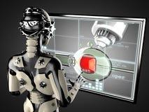 Robotvrouw het manipuleren hologramdispley vector illustratie