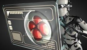 Robotvrouw het manipuleren hologramvertoning stock illustratie