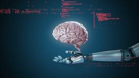 Robotwapen die hologramhersenen houden stock illustratie