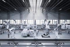 Robotwapens met transportbandlijn Royalty-vrije Stock Foto