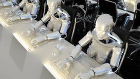 Roboty przyszłościowa praca w biurach na komputerach Loopable