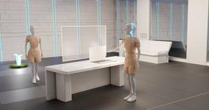 Roboty w biurze 3d-illustration royalty ilustracja
