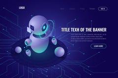 Robotyki technologia, maszynowa edukacja i sztucznej inteligencji ai isometric ikona, dane - przetwarzający, robotica pojęcie royalty ilustracja