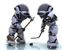 Robôs que jogam o icehockey Fotografia de Stock