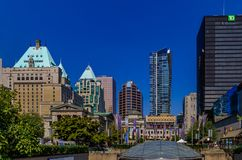 Robson Square skyline with old buildings and modern skyscrapers stock image