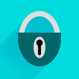 Robust dark green padlock on a blue background. Lock open and lock closed vector icons isolated on blue background, yellow padlocks shapes illustration, flat Stock Photography