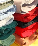 Robust Italian manufacture fabrics for sale in haberdashery Stock Images