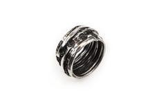 Robust male wedding ring. Isolated on white studio background Royalty Free Stock Photography