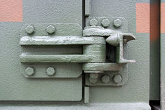 Robust metal hinges. Photo shows very sturdy and robust metal hinges Royalty Free Stock Photo