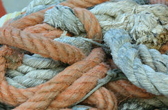 Robust ropes used by fishermen to moor the boat Royalty Free Stock Images
