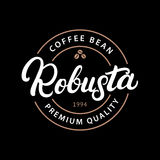 Robusta coffee hand written lettering logo, label, badge, emblem. Stock Photos