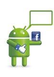 Robusteza androide con el globo del texto Fotografía de archivo libre de regalías