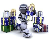 Robusteza con la pila grande de regalos