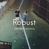Robuust Gezond en Sterk Mensen Grafisch Concept stock foto's