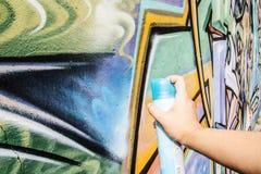 rocíe los colores de dibujo creativos del extracto de la pintada del arte de la calle en el th Imagen de archivo