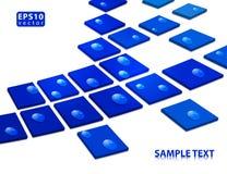 Rocío en cuadrados azules Imagen de archivo libre de regalías