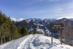 Roc Del Quer sightseeing trekking trail. Andorra. Roc Del Quer mountain peak sightseeing trekking trail. Principality of Andorra Stock Images