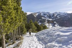 Roc Del Quer sightseeing trekking trail. Andorra. Roc Del Quer mountain peak sightseeing trekking trail. Principality of Andorra Royalty Free Stock Photos