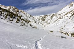 Roc Del Quer sightseeing trekking trail. Andorra. Roc Del Quer sightseeing trekking trail path view. Principality of Andorra Stock Photo