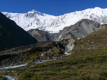 Roc Noir and Tilicho peak from Tilicho base camp, Nepal Stock Photos