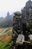 Roca alemana del otoño de la naturaleza Imagen de archivo libre de regalías