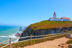 Roca cape lighthouse in Portugal Stock Photos