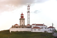 Roca cape lighthouse in Portugal, West most point of Europe Royalty Free Stock Photography