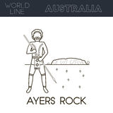 Roca de Ayers, Australia ilustración del vector