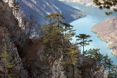Roca de Banjska del punto de vista en la montaña de Tara que mira abajo al barranco del río de Drina, Serbia del oeste Foto de archivo libre de regalías