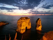 Roca de Beirut Rawcheh imagen de archivo libre de regalías