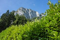 Roca de Drachenwand en Austria Una gente de la porción de la montaña para los deportes, vía ferrats Fotografía de archivo libre de regalías