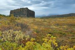 Roca de Eyjan en Asbyrgi Foto de archivo