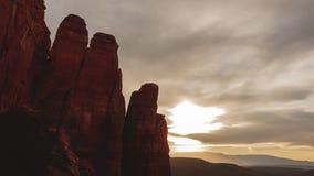 Roca de la catedral, Sedona, Time Lapse de la puesta del sol almacen de video