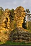 Roca de la piedra arenisca en Jetrichovice Imagen de archivo