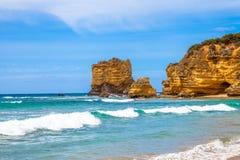 Roca de la tabla, entrada de Aireys en el gran camino del océano Foto de archivo