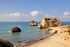 Roca del Aphrodite, Chipre. Foto de archivo