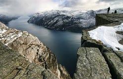 Roca del púlpito, opinión sobre el Lysefjord Fotografía de archivo libre de regalías