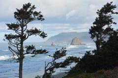 Roca del pajar enmarcada por los árboles en la costa de Oregon Foto de archivo