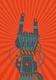 Roca del robot Cartel retro de la música con la mano metálica del robot Imagenes de archivo