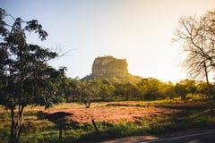 Roca del ` s de Sigiriya, o del león, Sri Lanka, en la salida del sol fotografía de archivo