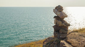 Roca en tierra y el mar Fotografía de archivo libre de regalías