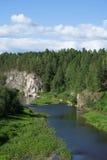 Roca entre el bosque denso Imagen de archivo libre de regalías