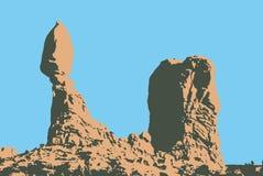 Roca equilibrada en el parque nacional Utah, los E.E.U.U. de los arcos stock de ilustración
