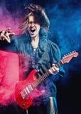 Roca-estrella que juega un concierto Imagen de archivo libre de regalías