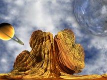 Roca extranjera con en el fondo del cielo Fotografía de archivo