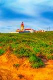 roca för caboda portugal Fyr och Atlantic Ocean Royaltyfri Bild